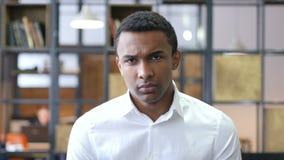 Upset Sad Black Man in Office stock footage