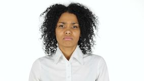 Upset sad black woman on white background. 4k  high quality stock video