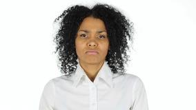 Upset Sad Black Woman on White Background Royalty Free Stock Images
