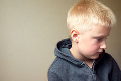 Upset sad child. Angry upset sad child (boy, kid) portrait Stock Images