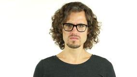 Upset Sad Man because of Situation aroung Him. +++ , creative designer , curly hair man  , businessman stock footage