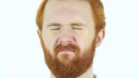Upset Sad Red Hair Beard Man Face Close Up stock video footage