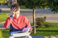 Upset sad teenager with textbooks and notebooks stock photo