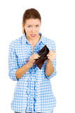 Upset sad unhappy young woman holding an empty wallet Royalty Free Stock Photography