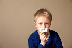 Upset sad young boy (teen). Goes to stress, negative mood. Portrait with copy space Stock Images