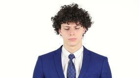 Upset sad Young Businessman, White Background stock footage
