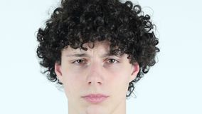 Upset Sad Young Man Face Close Up stock footage