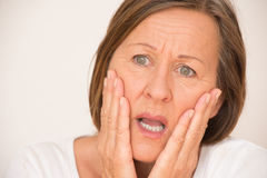 Upset Scared shocked woman portrait Royalty Free Stock Images