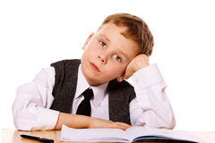 Upset schoolboy Royalty Free Stock Image