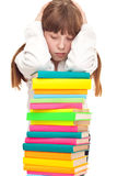 Upset schoolgirl with books Royalty Free Stock Image
