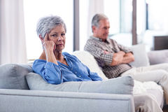 Upset senior couple ignoring each other Royalty Free Stock Image