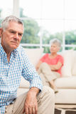 Upset senior man after arguing with wife Royalty Free Stock Photography