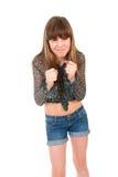 Upset teenager e gridare della ragazza fotografia stock libera da diritti