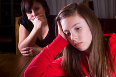 Upset Teenager and Mother stock images