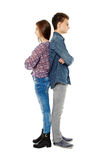 Upset teens back to back Stock Photos