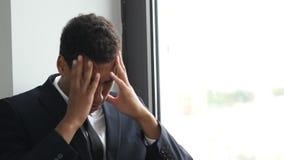 Upset, Tense Businessman in Problem, Thinking for Solution. Creative Designer stock video