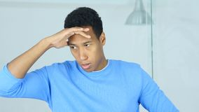 Upset Tense Young Afro-American Man Feeling Uncomfortable royalty free stock photography