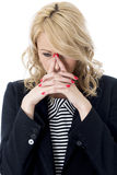 Upset Thoughtful Young Business Woman Stock Photography