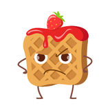 Upset Waffle with Jam and Strawberry Isolated. Funny sweet cartoon character. Tasty dessert. Quick snack. Confectionery childish illustration in flat design Stock Image