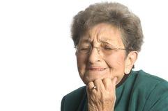 Upset woman. Emotional senior woman distressed and upset royalty free stock photo