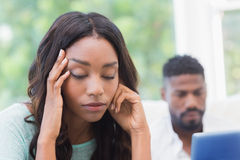 Upset woman being ignored by partner Stock Photos