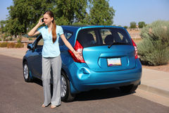 Upset Woman After Car Accident Stock Photo