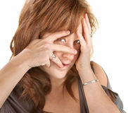 Upset Woman Covering Her Face Stock Image