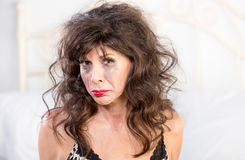 Upset Woman Crying in Bedroom Royalty Free Stock Photo