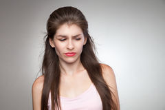 Upset woman feeling her guilty. Stock Photo