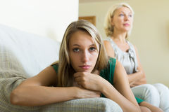 Upset woman and   mother having conflict Royalty Free Stock Images