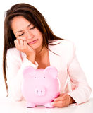 Upset woman needing money Royalty Free Stock Photo