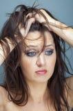 Upset woman sad looking down Stock Photos