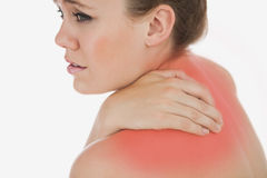 Upset woman suffering from backache Royalty Free Stock Photos