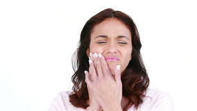 Upset woman with a toothache stock video