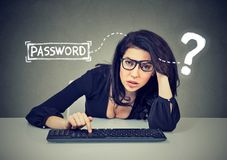 Upset young woman typing on the keyboard trying to log into her computer forgot password Stock Photography