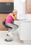 Upset woman using laptop unhappy negative emotion Royalty Free Stock Image