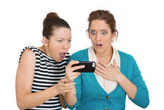Upset women on mobile cell phone Stock Image