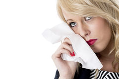 Upset Young Business Woman Crying Royalty Free Stock Photos