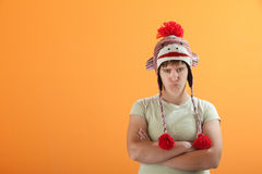 Upset young Caucasian woman in Monkey Cap Royalty Free Stock Photos