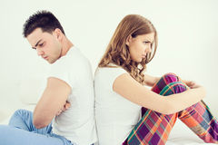 Upset young couple having marital problems Royalty Free Stock Photography