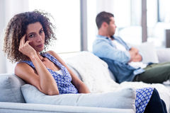 Upset young couple ignoring each other royalty free stock images