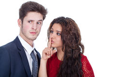Upset young couple. With white background Royalty Free Stock Photo