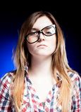Upset young girl with nerd glasses, school problems Stock Photography