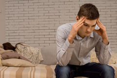 Upset young man after an argument Stock Photos