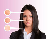 Upset young woman. Callouts with zoom portions of Stock Images