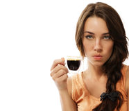 Upset young woman with cup of espresso coffee Stock Image