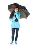 Upset young woman in raincoat holding umbrella Stock Image