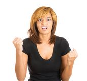 Upset young woman raising fists Stock Photos