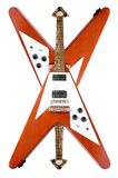 Upside Down. Flying V Guitars Isolated Over White Royalty Free Stock Photos