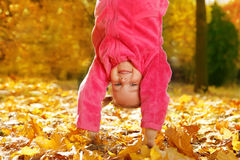 Upside down in autumnal park. Preschool girl upside down in autumnal park stock photos